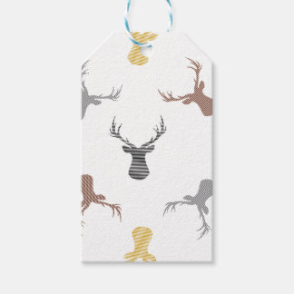 Deer pattern - beige, brown, gray and black. gift tags