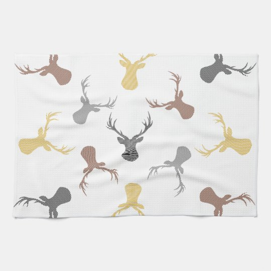 Deer pattern - beige, brown, grey and black. tea towel