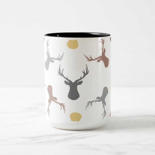 Deer pattern - beige, brown, grey and black. Two-Tone coffee mug
