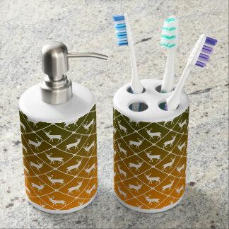 Deer pattern on gradient background soap dispenser and toothbrush holder