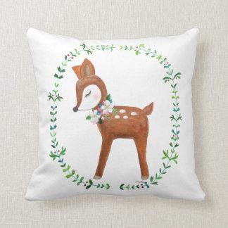 Deer Pillow Baby Deer Art Cushion Woodland Decor