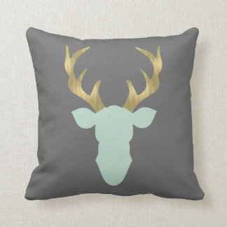 Deer Pillow, Deer Head, Antlers, Editable Color Cushion