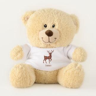Deer Plaid Red and Black Teddy Bear