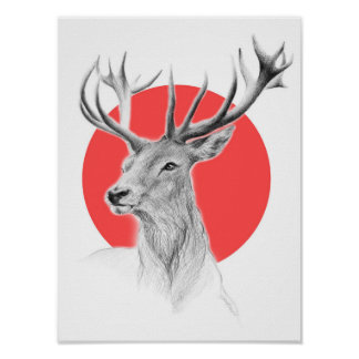 Deer portrait pencil drawing red by EDrawings38 Poster