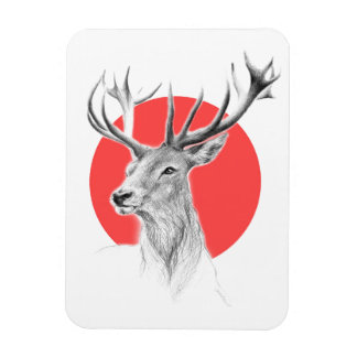 Deer portrait pencil drawing red circle Magnet