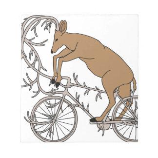 Deer Riding His Antler Bike Notepad