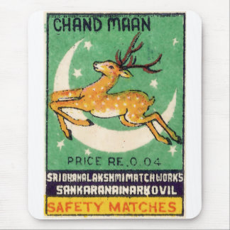 Deer Safety Match Label Mouse Pad