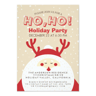 Deer Santa Christmas Ho, Ho, Holiday Party Invite
