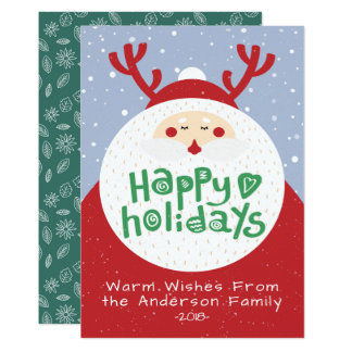 Deer Santa Merry Christmas Happy New Year Greeting Card