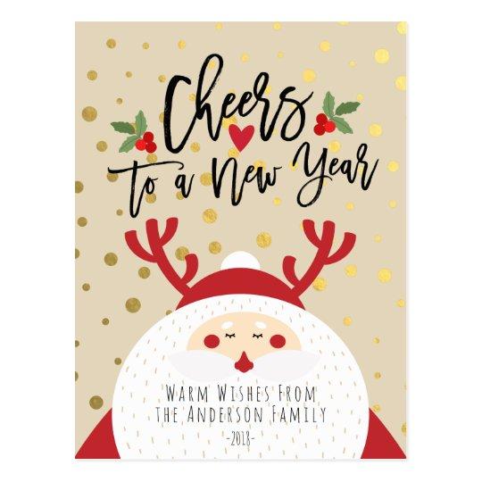 Deer Santa Merry Christmas Happy New Year Greeting Postcard