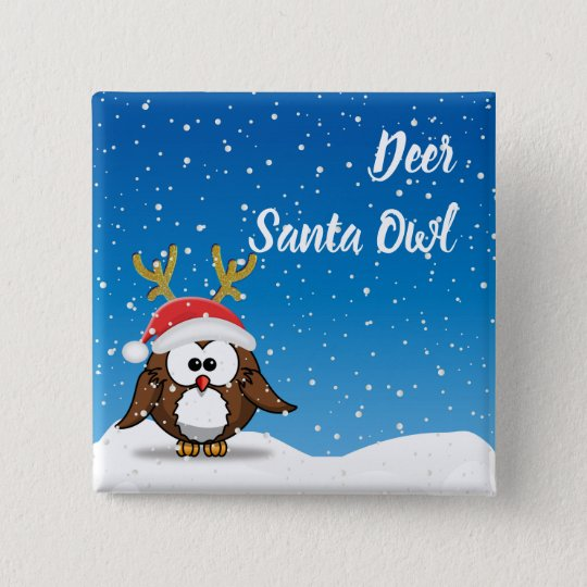 Deer Santa Owl 15 Cm Square Badge