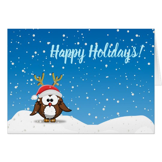 Deer Santa Owl Card