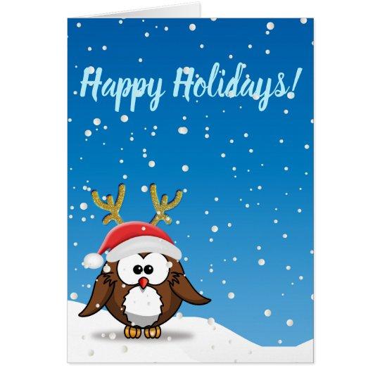 Deer Santa Owl Card