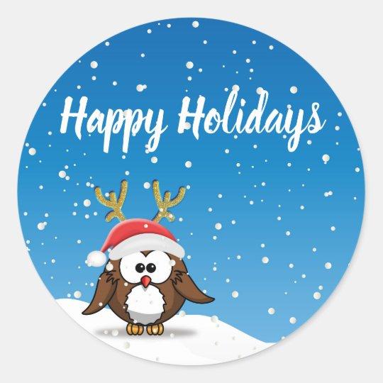 Deer Santa Owl Classic Round Sticker