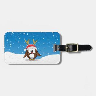Deer Santa Owl Luggage Tag