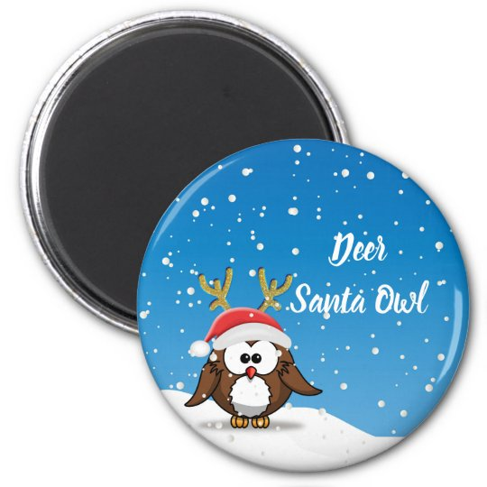 Deer Santa Owl Magnet