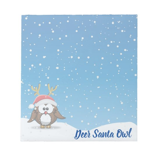 Deer Santa Owl Notepad