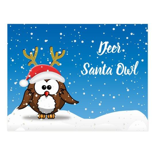 Deer Santa Owl Postcard