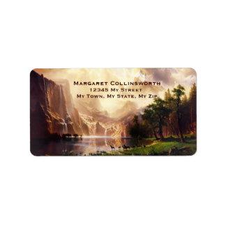 Deer Sierra Mountains 1868 Vintage Art Address Label