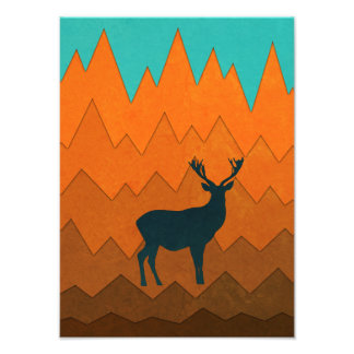 Deer silhouette autumn fall colorful Photo print