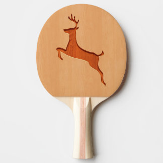 Deer silhouette engraved on wood design ping pong paddle