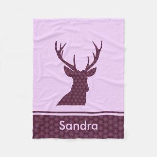 Deer Silhouette plaid purple Fleece Blanket