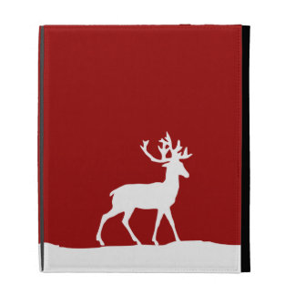 Deer Silhouette - Red and White iPad Folio Cover