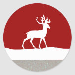 Deer Silhouette - Red and White Sticker