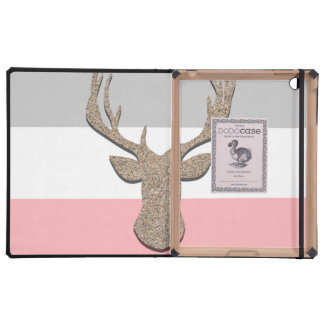 Deer Silhouette, Stag On Blue and Grey iPad Folio Case