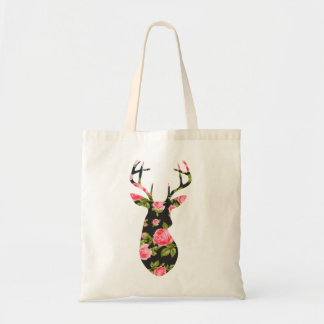 Deer Silhouette with Romantic Floral Vintage Roses Canvas Bags