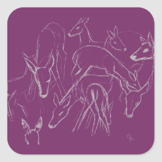 Deer Sketch Square Sticker