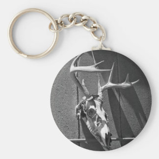 Deer Skull and Antlers in Black and White Key Chain