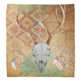 Deer Skull Antlers Native American Southwest Head Kerchief