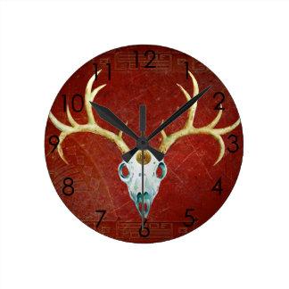 Deer Skull Antlers Ox Blood Gold Native American Wall Clocks