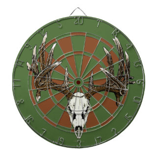 Deer skull dartboard with darts