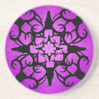 Deer Skull Design in Purple and black Beverage Coaster