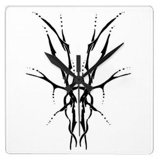 Deer Skull Tribal Tattoo - black and white Clocks