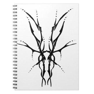 Deer Skull Tribal Tattoo - black and white Spiral Note Book