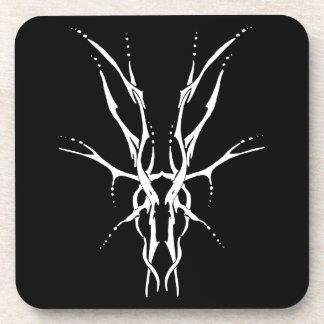 Deer Skull Tribal Tattoo - white on black Beverage Coaster