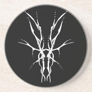 Deer Skull Tribal Tattoo - white on black Beverage Coasters