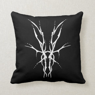 Deer Skull Tribal Tattoo - white on black Cushion