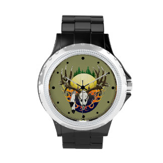 Deer skulls and feathers wristwatch