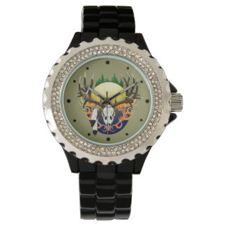 Deer skulls and feathers watch