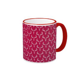 Deer skulls crimson pattern mug