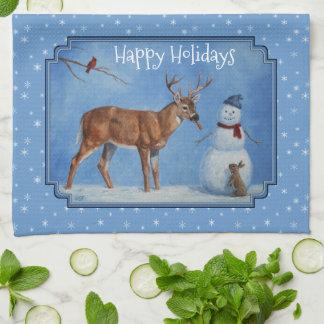 Deer & Snowman Christmas Snowflakes Tea Towel