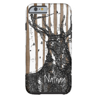Deer/Stag Birch Tree linen Personalize iphone Case