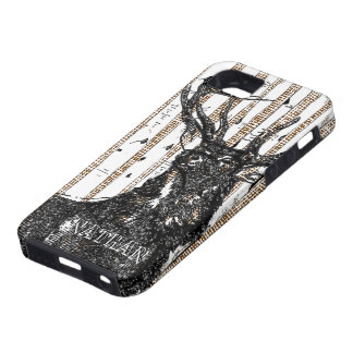 Deer/Stag Birch Tree Personalize iphone 5 Case