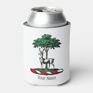 Deer Stag by Tree Heraldic Crest Emblem Can Cooler