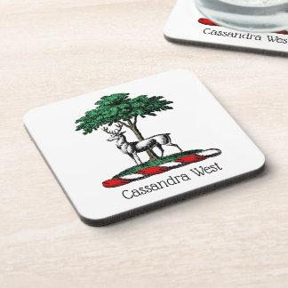 Deer Stag by Tree Heraldic Crest Emblem Coaster