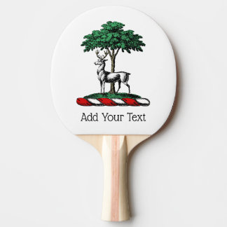 Deer Stag by Tree Heraldic Crest Emblem Ping Pong Paddle